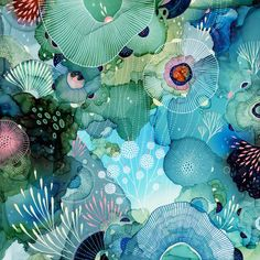 """Portland-based artist Yellena James creates kaleidoscopic, biomorphic artworks that resemble colourful ecosystems Abstract Watercolor, Watercolor And Ink, Watercolor Paintings, Abstract Paintings, Abstract Art, Art Inspo, Painting Inspiration, Pintura Graffiti, Yellena James"