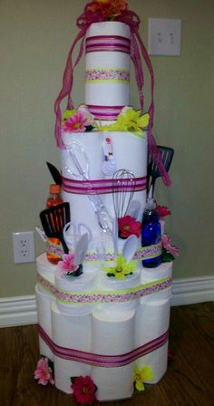 Paper towel and toilet paper cake!