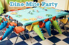 Cute dinosaur theme table decorations