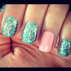 love the color combo nail styles, color combos, blue, pink nails, pale pink, sparkle nails, glitter nails, color combinations, color nails