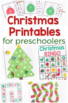 Christmas printables for preschoolers. Fun and learning for the Christmas season! Games, centers, clip cards, puzzles and more!