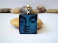Blue Buddha Face Pendant Buddha Necklace by HappyPiecesJewelry