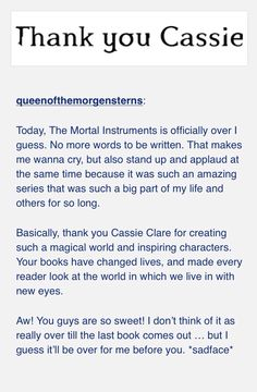 #ThankyouCassandraClare for the Mortal Instruments I can't wait for the dark artifices and the last hours
