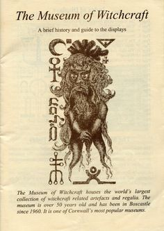 THE MUSEUM OF WITCHCRAFT: information brochure from The Museum of Witchcraft at Boscastle in Cornwall.     ✫ღ⊰n