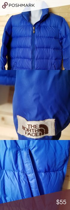 The North Face Junior Down Coat Beautiful Blue The North Face down coat in EUC! Chest 27 Length 29 Sleeve 29. All measurements are with garment lying flat.  I also have one in a Large 🛍 The North Face Jackets & Coats