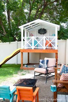 Even though we have a small yard, we were able o build an outdoor playhouse for the kids in our backyard. Get the tutorial at Housefulofhandmad… Backyard Fort, Backyard Playset, Small Backyard Landscaping, Backyard For Kids, Small Yard Kids, Kids Yard, Sloped Backyard, Back Yard Ideas For Small Yards, Backyard Pools