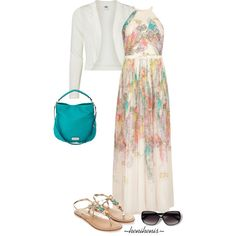 """A fashion look from February 2015 featuring Ted Baker gowns, Vero Moda jackets and Monsoon sandals.  """"Casual Outfit"""" ~henihenis~ #77"""