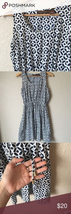 Navy Blue and White Dress This dress is thin and semi semi see through on the sun so you would need to wear nude underwear or a slip underneath. Stretchy waist. Brand is Speed Control out of New York. Using different brand for exposure Francesca's Collections Dresses