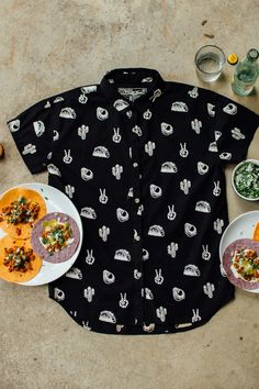 No Problemo Button-Up Casual Button-Up Shirt Taco Shirt Mens Button Up, Button Up Shirts, Black Button, Cactus Shirt, Taco Shirt, Hawaiian Tiki, Food Puns, You Are The Father, Food Design