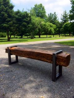 Reclaimed Barn Beam Bench by RustReclaimed on Etsy