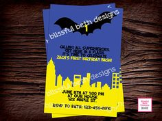 BATMAN CITY INVITATION Personalized Blue by BlissfulBethDesigns