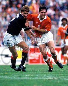 Holland 1 Scotland 0 in 1992 in Gothenburg. Richard Gough marks Marco Van Basten tight in this Group B clash at Euro '92.