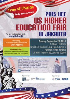 IIEF U.S. Higher Education Fair in Jakarta: Sept 29 5 pm—8 pm  Grand on Thamrin 1 & 2 Room  Pullman Hotel, Jakarta  Jl. M.H. Thamrin 59, Jakarta 10350  Register now!  http://iief.or.id/ #IIEF #educationfairs #USeducation