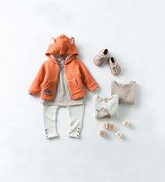 Zara.com ~ more neutrals with toned down stripes and adorable fox-eared hoodie!