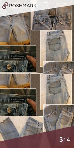 RALPH LAUREN JEANS,  LONG SIZE 6 LONG, WORN SOME ON BOTTOMS, BUT LOOK COOL, SMALL LITTLE HOLES, ONE UP BY BELT LOOP, SMALLER ONE ALSO ON BACK TOP AROUND POCKET,  NOT REALLY NOTICEABLE,  PRICE REFLECTS WEAR Ralph Lauren Jeans Skinny