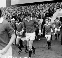 George Best, Alan Gowling, Denis Law and Brian Kidd take the field for Preston v Manchester United in February 1972 in a FA Cup 4th. round tie which United won 3-2.
