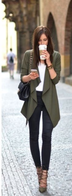 Olive waterfall cardigan