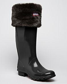 0667d7c47ca Hunter Wellie Sock with fur trim