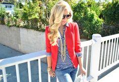 casual way to wear a red blazer + stripes. Add boyfriend jeans.