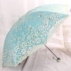 Elegant Women's Fashion Lace Embroidered Double-Layer Anti-UV 2 or 3-Folding Umbrella 6 Colors