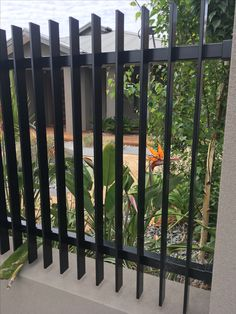 Nice style of fence. Metal Deck Railing, White Vinyl, Colour Schemes, Fence, Exterior, Outdoor Structures, Garden, Pictures, Style