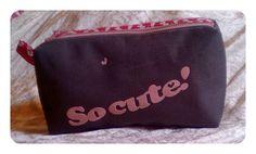 Moyenne Trousse Zipzip modèle Sacôtin version 1 gris anthracite et rose étoiles