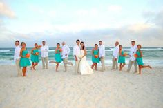 I like the shade of blue and the colors that the men are wearing, and the contrast to the bouquets.