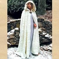 Snow Queen Cape is a beautiful, long flowing white faux fur cape. This magnificent cape and the attached hood both feature a full white satin lining. This popular item has a silver toned leaf clasp at the neck. White Cloak, White Cape, Mantel Trenchcoat, Gothic Mode, Hooded Cloak, Fur Cape, Medieval Costume, Medieval Cloak, Capes For Women