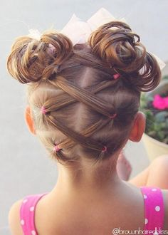 Laced pigtails and double buns.
