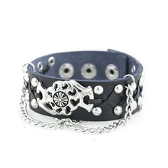 fire cross punk unisex studs leather bracelet