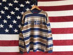 38f1bfac Vintage 90s Karl Kani Jeans Sweater Striped Karl Kani Jeans Long Sleeve  Pullover Heavy Cotton Shirt Karl Kani Hiphop Sweater Large Size Men