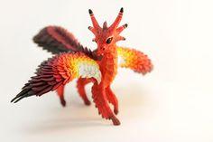 Feathered Dragon Figurine Sculpture Red Orange Fire Fantasy Bird