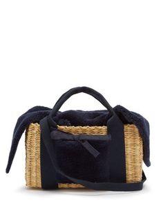 Manon shearling and woven straw bag Kylie Lips, Straw Bag, Gym Bag, Bags, Stuff To Buy, Handbags, Duffle Bags, Dime Bags, Totes