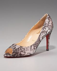 X0V3Y Christian Louboutin You You Peep-Toe Lace Pump