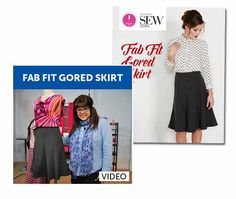 Flattering gored skirt sewing pattern and sewing video with Joi Mahon