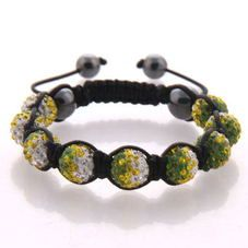 Green Yellow flame, gradient crystal beads on black cord.