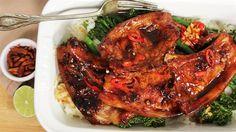 marinated sticky pork chops