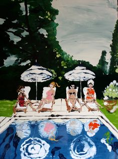 Mary Ronayne, Backyard Bathers, Malibu, 2021 | HOFA Gallery (House of Fine Art) Art Sites, The Hamptons, It Works, Mary, Fine Art, Gallery, Illustration, Artist, House