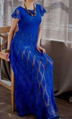 El vestido maksi en el estilo boho. El vestido hermoso por el gancho del esquema | el Estuche de la costura