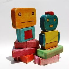 Robot Blocks Toy Set by woodmouse