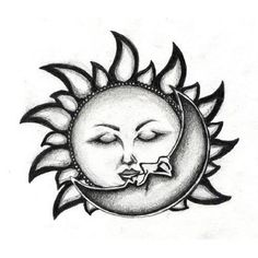 kiss sun moon tattoo