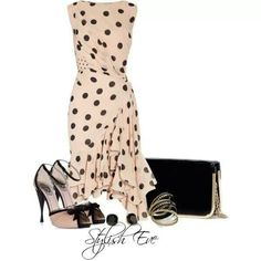 Pin up style. Changes: a more dainty purse in nude & lose that jewelry.