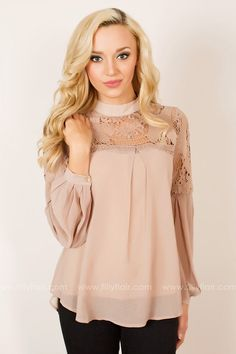 This beautiful lace top features a sheer fabric in a gorgeous neutral color that will have you looking your best!