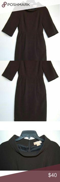 "Michael Kors 3/4 sleeve 2 front pockets dress Length 37"". Chest 16"". Waist 14"". Sleeve 14"". Hip 18 1/2 - 19"". Shell 63% polyester/33% viscose/4% spandex. Lining 100% acetate. MICHAEL Michael Kors Dresses Long Sleeve"