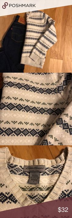 Eddie Bauer knit sweater Cozy knit Eddie Bauer sweater with green, blue, and white pattern (background is cream). Very gently used, no signs of wear! Eddie Bauer Sweaters Crew & Scoop Necks