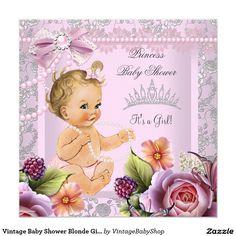 Vintage Baby Shower Blonde Girl Pink Pearl Rose Invitation