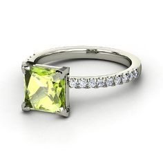 Princess Peridot, Multi-stone, Prong Set Ring in 14K White Gold