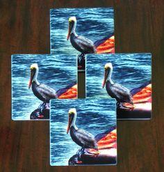 Pelican Coasters Sandstone Coasters Absorbent Coasters Pelican Home Decor Home Decor Gift