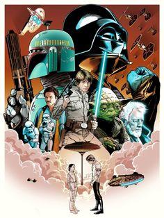 "Star Wars Trilogy Art Set ""I Love You. I Know"" by Joshua Budich"