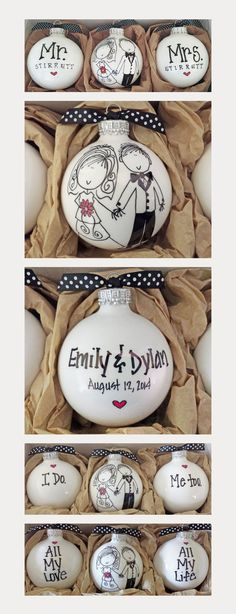 DIY wedding ornament, DIY wedding gift, Christmas wedding, holiday wedding, christmas tree ornament bride and groom Wedding Favors And Gifts, Creative Wedding Gifts, Bride Gifts, Handmade Wedding Gifts, Wedding Shower Gifts, Good Wedding Gifts, Bridal Shower Gifts For Bride, Wedding Gifts For Bride And Groom, Custom Wedding Gifts